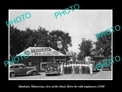 OLD LARGE HISTORIC PHOTO OF MANKATO MINNESOTA, VIEW OF THE OASIS DRIVE IN c1940