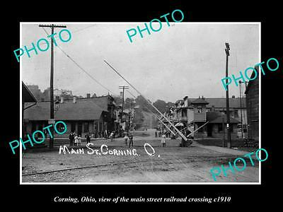 OLD LARGE HISTORIC PHOTO OF CORNING OHIO, VIEW OF MAIN St RAILROAD CROSSING 1910