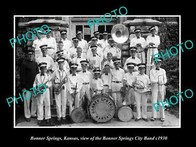 OLD LARGE HISTORIC PHOTO OF BONNER SPRINGS KANSAS, THE CITY BRASS BAND c1930