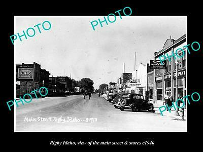 OLD LARGE HISTORIC PHOTO OF RIGBY IDAHO, THE MAIN STREET & STORES c1940