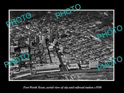 Old Large Historic Photo Of Fort Worth Texas, Aerial View Of City & Railway 1950