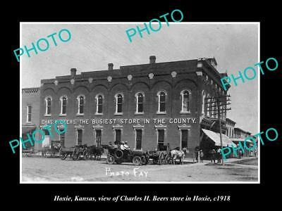 OLD LARGE HISTORIC PHOTO OF HOXIE KANSAS, VIEW OF THE BEERS STORE c1918