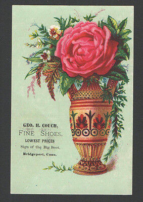 1884 Victorian Tradecard Geo H Couch FINE SHOES Bridgeport, Conn. Vase Flowers