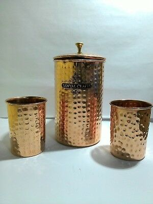 100% Pure copper Handcrafted Hammered Pitcher/Jug 50 Oz/1.5 Liters  And 2 Cups