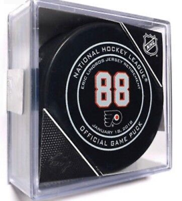 ERIC LINDROS Official Retirement Game Puck PHILADELPHIA FLYERS