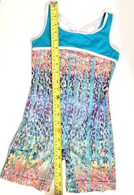 Girls CAPEZIO FUTURE STAR COLORFUL SPARKLE UNITARD LEOTARD SZ S