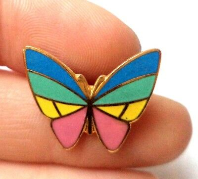 """Stunning Vintage Estate Colorful Butterfly Gold Tone Animal 7/8"""" Brooch!!! 8629Y"""
