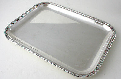 """CHRISTOFLE SILVER PLATED DRINKS /COCKTAIL TRAY, RUBANS pattern, 10"""" (25.5 cms)"""