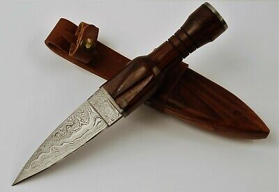 Scottish Damascus Steel Dirk Dagger Knife Celtic Sgian Dubh with Scabbard