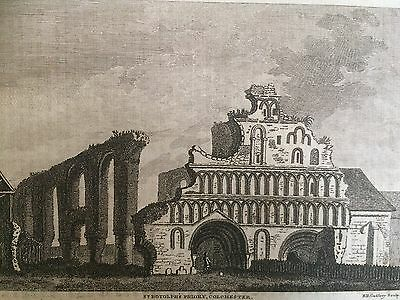 1786 Antique Print; St Botolph's Priory, Colchester, Essex , Universal Magazine