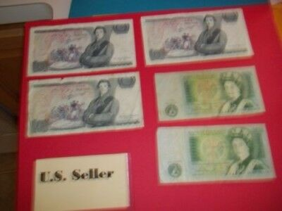 5 British pound notes from the mid 80's circulated US Seller