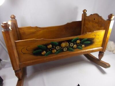 Early 20th Century Dolls Wooden Rocking Cradle Crib