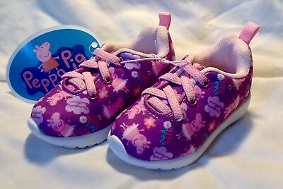 PEPPA PIG SHOES Pink Purple Shoes Sneakers Toddler Size 5 Peppa Pig NWT Cute