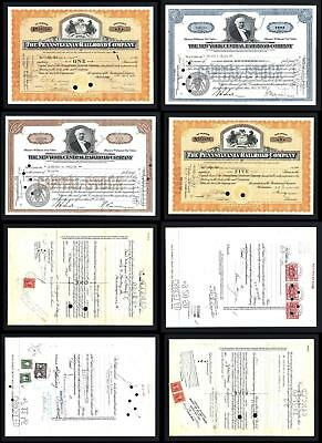 Lot of 4 Stock Certificates issued between 1930 and 1950 - Lot # 604