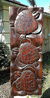 Large Gorgeous Thick & Heavy Handcarved Intricate Mahogany Turtle Wall Decor Art
