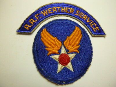 A   2 Piece  WW 2 U S Army Air Force WEATHER SERVICE Cut Edge Snow Back Patch