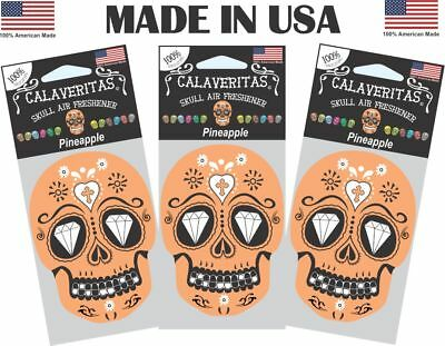 """Skull Car Air Fresheners, """"Latino Tradition"""" AUTO CHARMS TM  Pack of 3"""