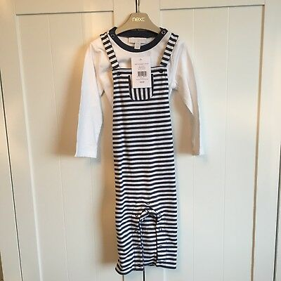 The Little White Company White & Navy Blue Stripe Dungarees & Top Set 9-12 Month