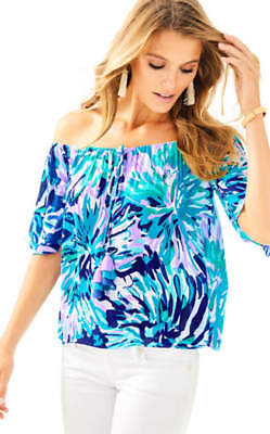 64e6520a100c6  108 NEW Lilly Pulitzer SAIN TOP Capri Teal off Tropic Blouse Tassels Lilac  S M