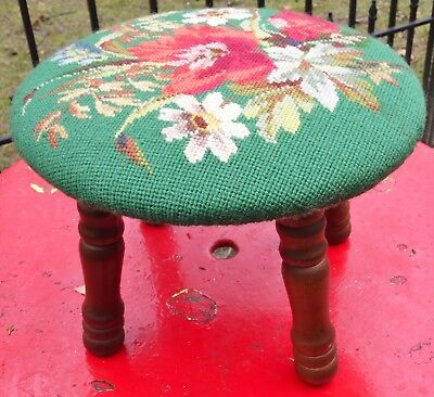 Vtg Needlepoint Round Foot Stool Rest Antique Tapestry Ottoman Floral Small