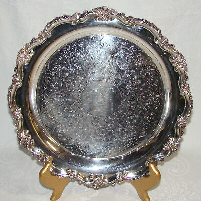 """Vintage Bristol by Poole # 75 11 5/8"""" Round 3 Footed Silverplate Serving Tray"""