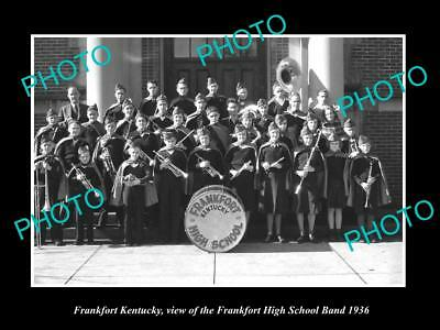 OLD LARGE HISTORIC PHOTO OF FRANKFORT KENTUCKY, THE HIGH SCHOLL BAND c1936