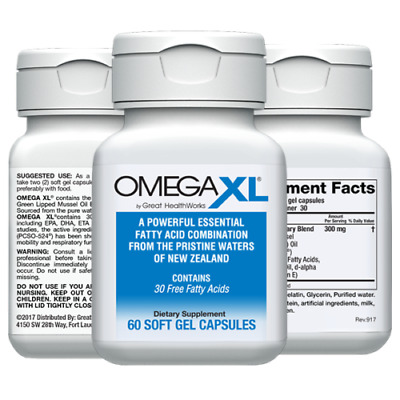 Omega XL 60ct by Great HealthWorks: Small, Potent, Joint Pain Relief - Omega-3