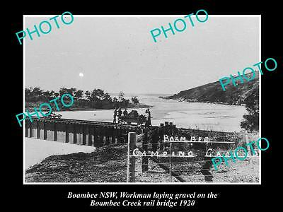 Old Large Historical Photo Of Boambee Nsw, View Of The Creek Railway Bridge 1920