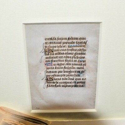 A Leaf From The Book Of Hours  In Latin On Velum Burnished Gold Ink 1480