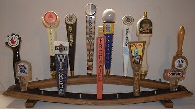 oak whiskey barrel stave 2 tiered 19 beer tap handle display stand