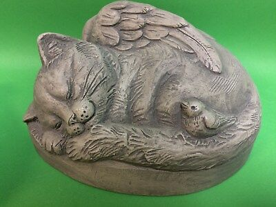 Telle M.Stein Handcast Bunny Stone Remembrance Cat Angel 2000 Signed