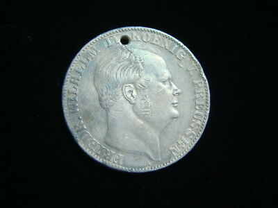 Germany Prussia 1859 Silver Thaler Holed, Nice Appearance