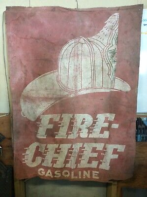 Fire Chief Gasoline painted canvas banner (double sided)