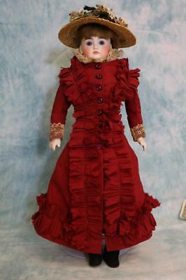 """16"""" Antique German bisque Solid Dome Shoulder Head doll 172 Closed mouth"""