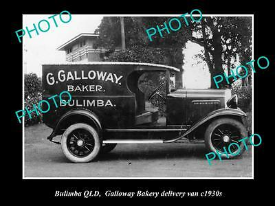 OLD LARGE HISTORIC PHOTO OF BULIMBA QLD, GALLOWAY BAKERY DELIVERY VAN c1930s