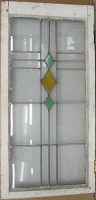 "LARGE OLD ENGLISH LEADED STAINED GLASS WINDOW Simple Diamond 18.5"" x 37"""