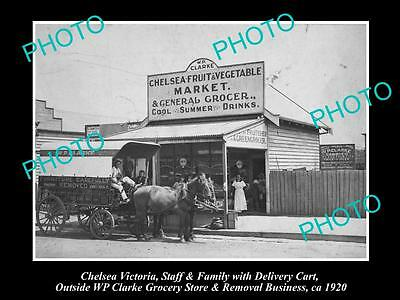 Old Large Historic Photo Of Chelsea Victoria, View Of Clarkes General Store 1920