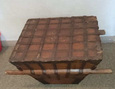 Rare Antique Asian Rice Carrier Large Size with Handles Wooden w/ metal fixtures