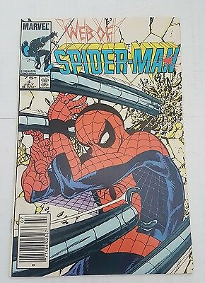 web of spiderman # 4, 1985 canadian price newsstand  edition