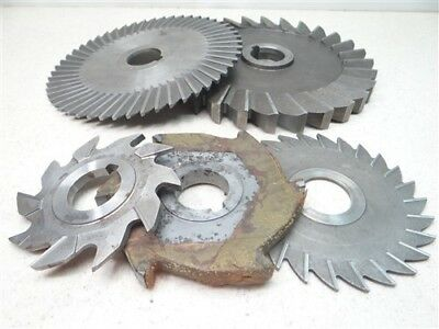"""Lot Of 5 Hss Assorted Milling Cutters 7/32"""" & 3/4"""" Widths 1-1/4"""" Bores"""