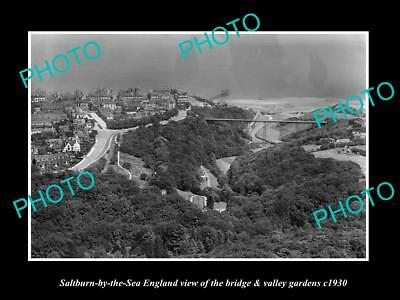 OLD LARGE HISTORIC PHOTO OF SALTBURN BY THE SEA ENGLAND, BRIDGE & GARDENS c1930
