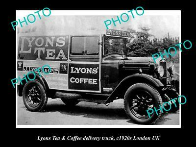 OLD LARGE HISTORIC PHOTO OF LYONS TEA & COFFEE DELIVERY VAN c1920s LONDON
