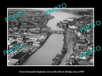 OLD LARGE HISTORIC PHOTO OF GREAT YARMOUTH ENGLAND, THE HAVEN BRIDGE AREA c1950