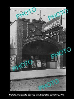 OLD LARGE HISTORIC PHOTO OF DULUTH MINNESOTA, VIEW OF THE ALHAMBRA THEATRE c1915