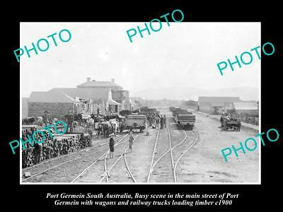 Old Large Historic Photo Of Port Germein Sa, Loading Railway In Main Street 1900