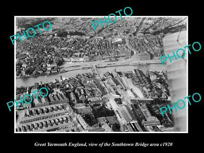 OLD LARGE HISTORIC PHOTO OF GREAT YARMOUTH ENGLAND, THE SOUTHTOWN BRIDGE c1920
