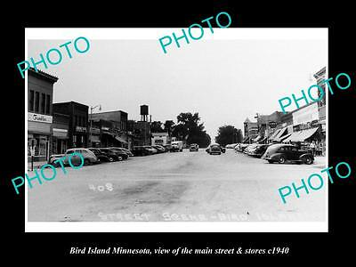 Old Large Historic Photo Of Bird Island Minnesota, The Main Street & Stores 1940