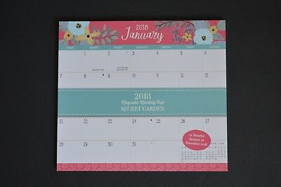 Orange Circle Studio 2018 Magnetic Monthly Calendar Pad Secret Garden