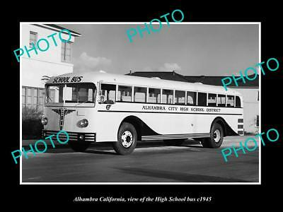 OLD LARGE HISTORIC PHOTO OF ALHAMBRA CALIFORNIA, THE HIGH SCHOOL BUS c1945