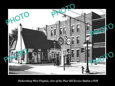 Old Large Historic Photo Of Parkersburg West Virginia, Pure Oil Gas Station 1930